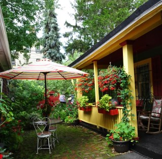 Cottage Garden back porch, brick and moss lawn