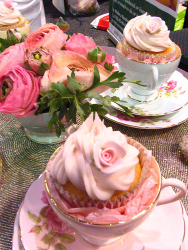 Tea party cupcakes. I really love how they match the china.