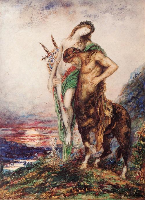 onmyowntwohands:  Poète mort porté par un centaure, 1890, Gustave Moreau.