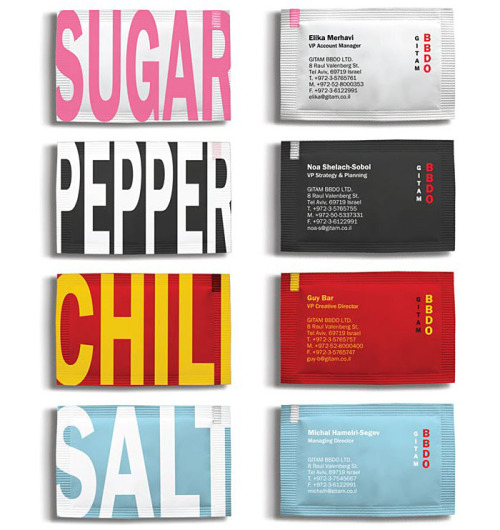 "Spicy ""Business-Bags""  These sugar and spice packets are a fun take on the usual boring business card. They were designed by Gitam BBDO Israel, whose site unfortunately is ""under construction.""  (first discovered via TheDieline, via Ads of the World, karenh)"