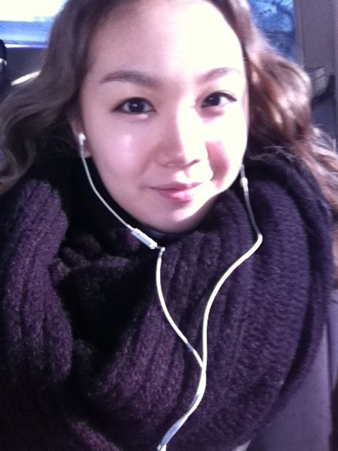 110113 Joo's Twitter  going to school ~~>_< R u listening my song? yes,probably U R..kkk :-) these days,나쁜남자 is touching U..right??