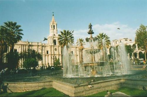 Plaza de Armas in Arequipa  Established in 1612 and fully restored in the 19th century. This imposing construction has been suffered earthquakes and fire.