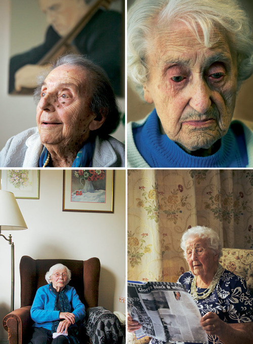 Touching interviews with centenarians, about their look on their long lives:(clockwise)   Alice Herz-Sommer, 108 I survived the concentration camps, and this is something extraordinary.  Thousands and millions that had to die, and we are sitting here. When  we are old, we are aware of the beauty of life. Young people take  everything for granted. It all depends on the character you're born  with.  Everything I forget. Even if I write it down, I forget to  look. I had an excellent memory and now, I'm an idiot! [Laughs] What do  I do against it? I learn Bach by heart and play the piano. My son died  aged 64. He was a gifted musician, and a wonderful son. My only child.   Nellie Wright, 103 I don't get by, I exist from one day to the other. I'm hoping for the  end to come. I'm tired of it. Why should it be like this? Not a penny in  my purse! I've worked 74 years. Why am I here? I'm waiting for God to straighten this out. I should be  home! My husband died while I was in here. I never even got to his  funeral. It doesn't matter. I've been a decent girl, never drunk or gone  with men. I've just lived and worked like a silly fool.   Helen Turner, 101 I'm going to live to 120! I had a party and champagne at 100. Actually, I can't remember much of it, as I'd had a lot to drink. I was engaged once, but I never met… well, I knew what I was looking  for and I found it, but too late. He's a professor. Of course he's  married. And I can't imagine he's the sort of person to go off the  rails. Not that I wouldn't want him to. I'm not saying I'm that good!   Nora Hardwick, 105 It's in the genes, I suppose. My mother was 94 and my eldest sister was  96. Granny was 97. I've kept my brain active. I read and do crosswords.  And I have a little shot of whisky at bedtime. I think that helps.  If it wasn't for my daughters, I'd have to have somebody in every day,  but, you see, Maureen has showered me today and Jan's washed my hair.  They keep me clean, that's the main thing. I've treated myself to a  little scooter that I can get out on, in the fresh air. I don't like  sitting all day. I take every day as it comes. Each one is a bonus.