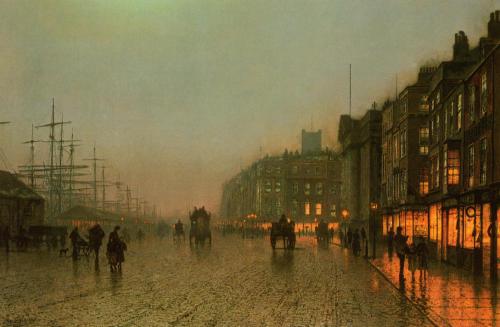 artandopinion:  Liverpool from Wapping circa 1875 John Atkinson Grimshaw