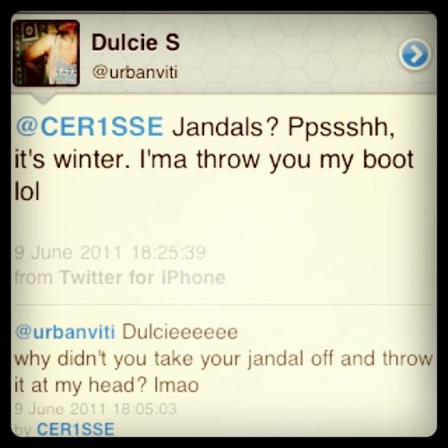 Now following @urbanviti lol throw the jandal Dulcieee :D  (Taken with instagram)