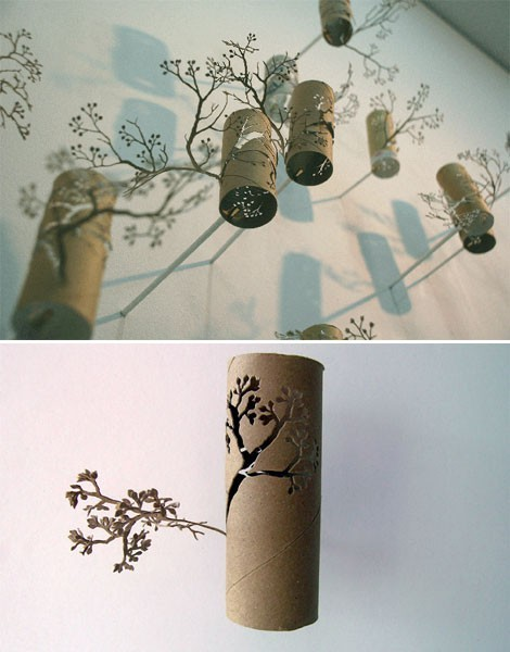 Eco paper art out of toilet paper rolls.
