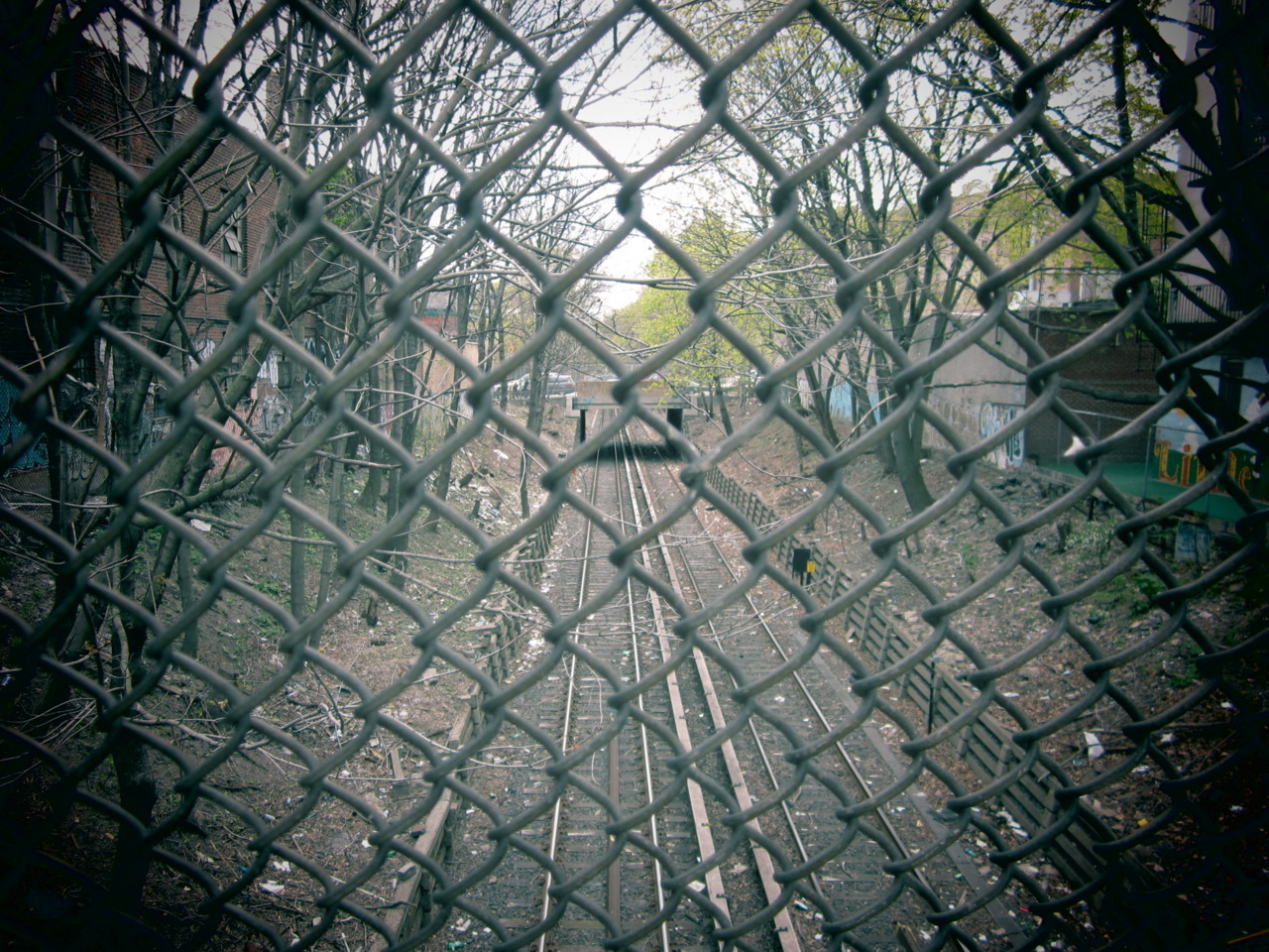 chain link fence train tracks