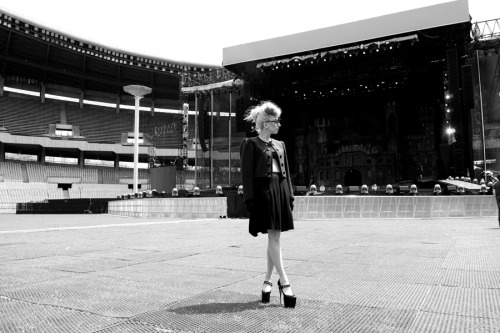 Gaga at the stadium the day of the show.