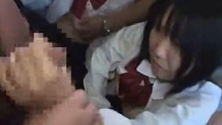 痴漢バスに乗り込んでしまった黒髪巨乳の女子校生二人に咥えさせてぶっかけ祭り開幕じゃいwwww