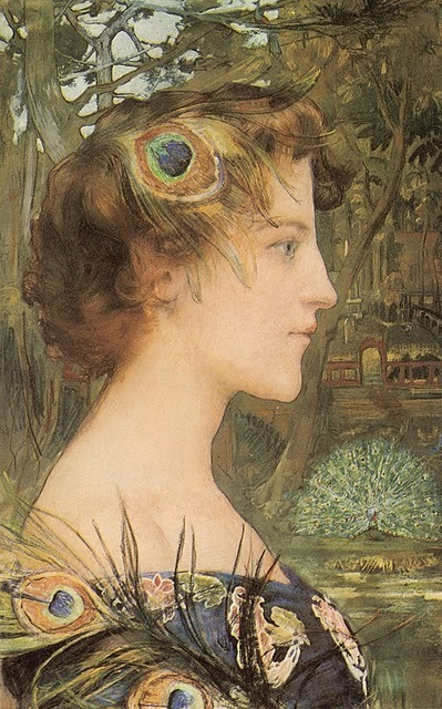 charlottecorday:  alabaster1:  Edgar Maxence Peacock Profile 1896 via Peacock's Garden