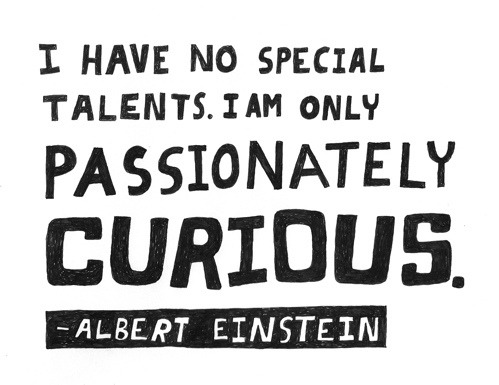 """""""I have no special talents. I am only passionately curious."""" -Albert Einstein"""