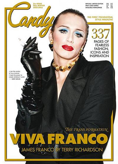 James Franco está lusho, vestido de drag na capa da Candy.