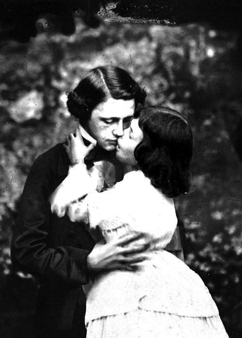 Lewis Carroll and Alice Liddell kissing, 1858