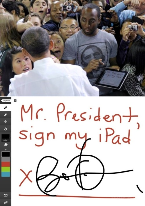 Barack Obama's signature on an iPad Paintbrush canvas