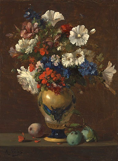 stilllifequickheart: 1865-70 Antoine Vollon (French, 1833-1900) ~ Vase of Mixed Flowers with Plums