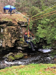 North Pocono Firefighters Complete Tensioned Highline Rope Rescue Training