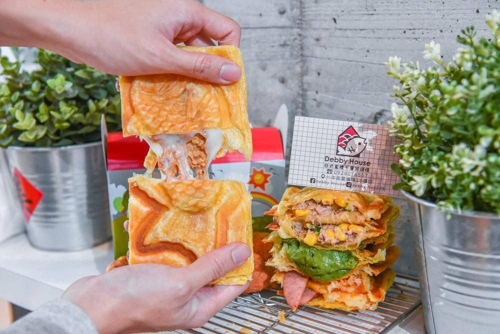 Debby House:台中北區美食-一中商圈愛廣場裡的日式蜜糖千層可頌燒,皮超酥口味超多元!