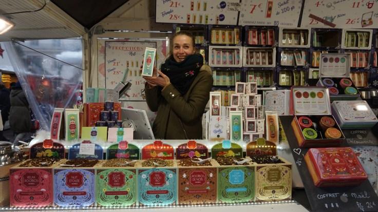 Thés et coffret sur le marché de Noël de Nantes
