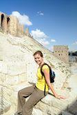 Amandine at the Aleppo's Citadel