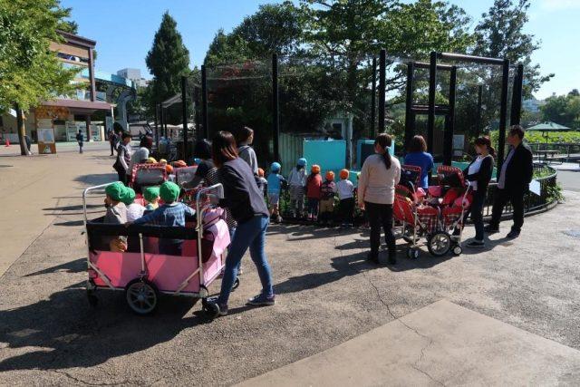 "Kids on ""trolleys"" in Ueno Zoo"