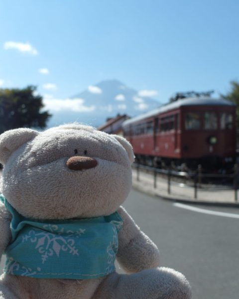 View of Mount Fuji with vintage train at Kawaguchiko Station