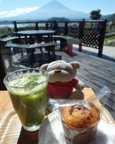 Matcha Latte and Blue Berry Muffin with Mount Fuji Views at Kawaguchiko Natural Living Center