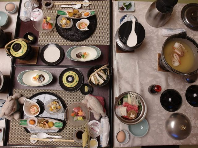 Dinner spread at Konansou (胡南庄) Kawaguchiko Onsen Hotel
