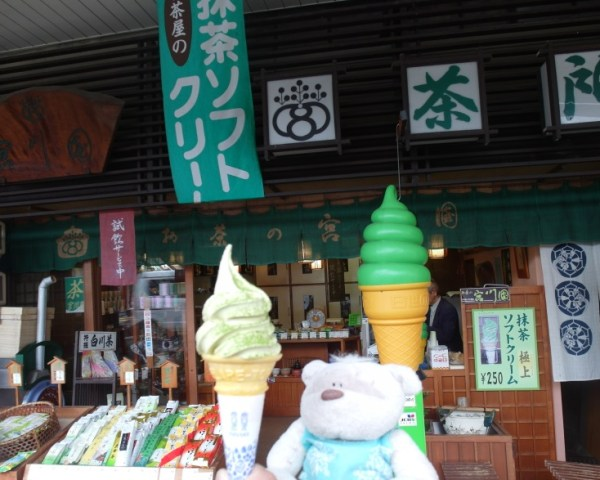 Matcha ice cream with green tea sprinkled atop in Takayama