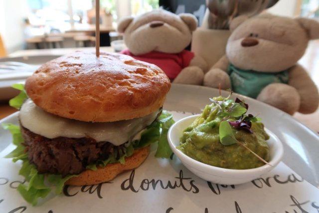Close up of Brisket Cheeseburger with Smashed Avocado with Yuzu ($17.5 + $4) @ Nodo Brisbane CBD