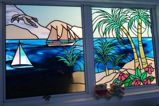 Stained Glass Windows at Moffatt Beach Accomodation