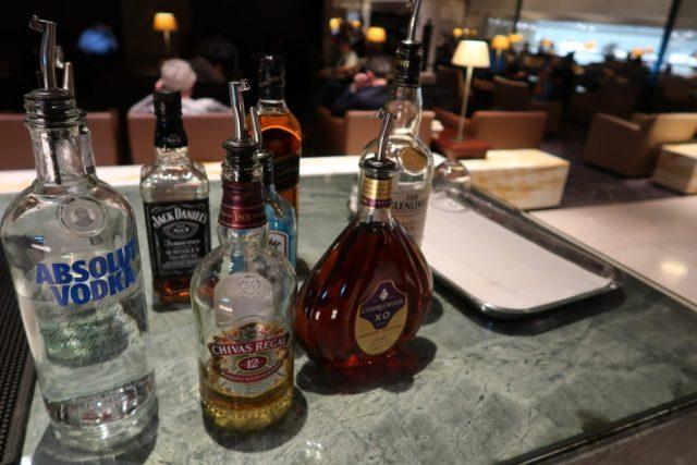 Alcohol selection SilverKris Lounge Singapore Changi Airport