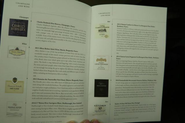 Singapore Airlines Business Class Champagne and Wine Selection Menu