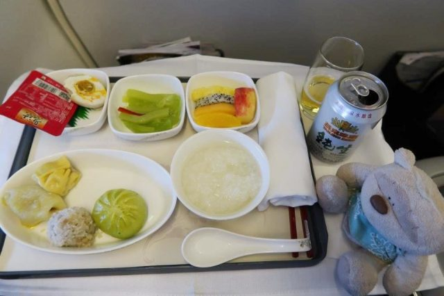 Chinese cuisine aboard Air China Business Class Beijing to Busan