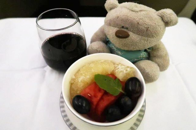 Fruits aboard Singapore Airlines Business Class