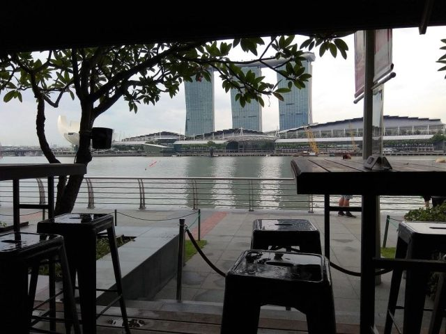 View of Marina Bay Sands from the Pelican Sunday Champagne Brunch Outdoors Seats