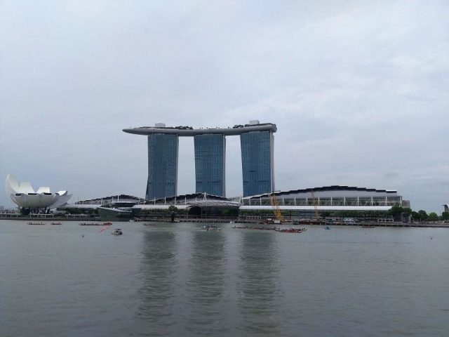 View of Marina Bay from the Pelican during the Sunday Champagne Brunch