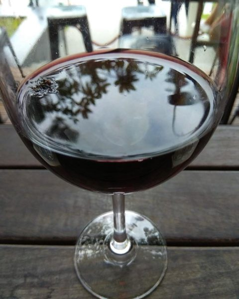 A fly having a dip in our red wine...