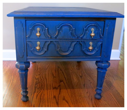 Blue painted end table from 2 Bees In A Pod