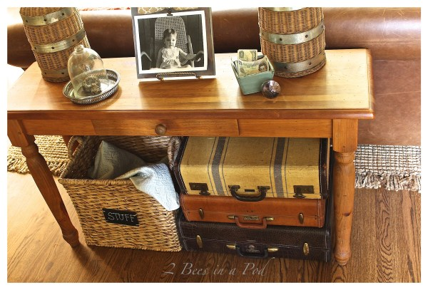 Decorating with vintage suitcases {2 Bees In A Pod}