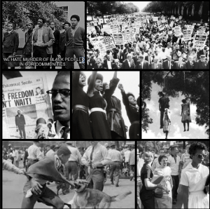 Collage of Civil Rights Movements and Acts of Racism.