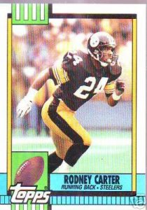Rodney running in Steelers football jersey.