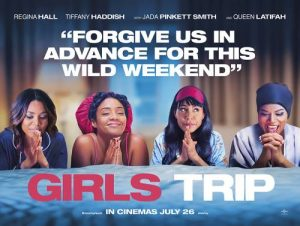"""Main characters from 'Girls Trip' praying over a bed with the quote """"Forgive us in advance for this wild weekend"""" above them."""