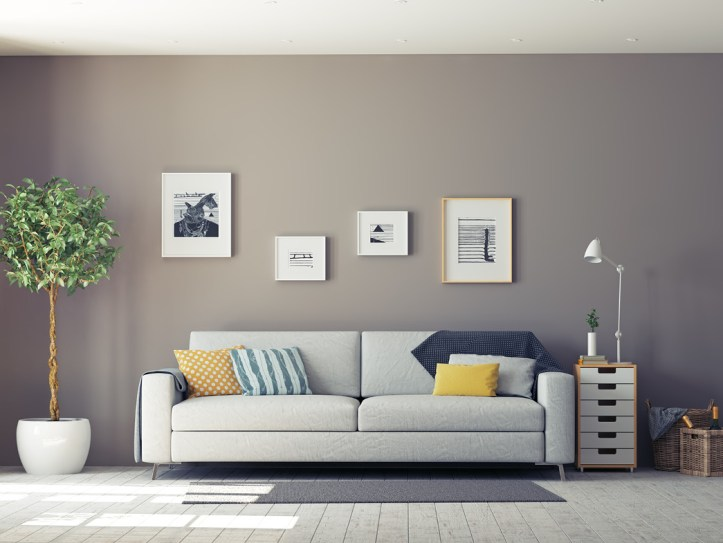 Living room with gray wall