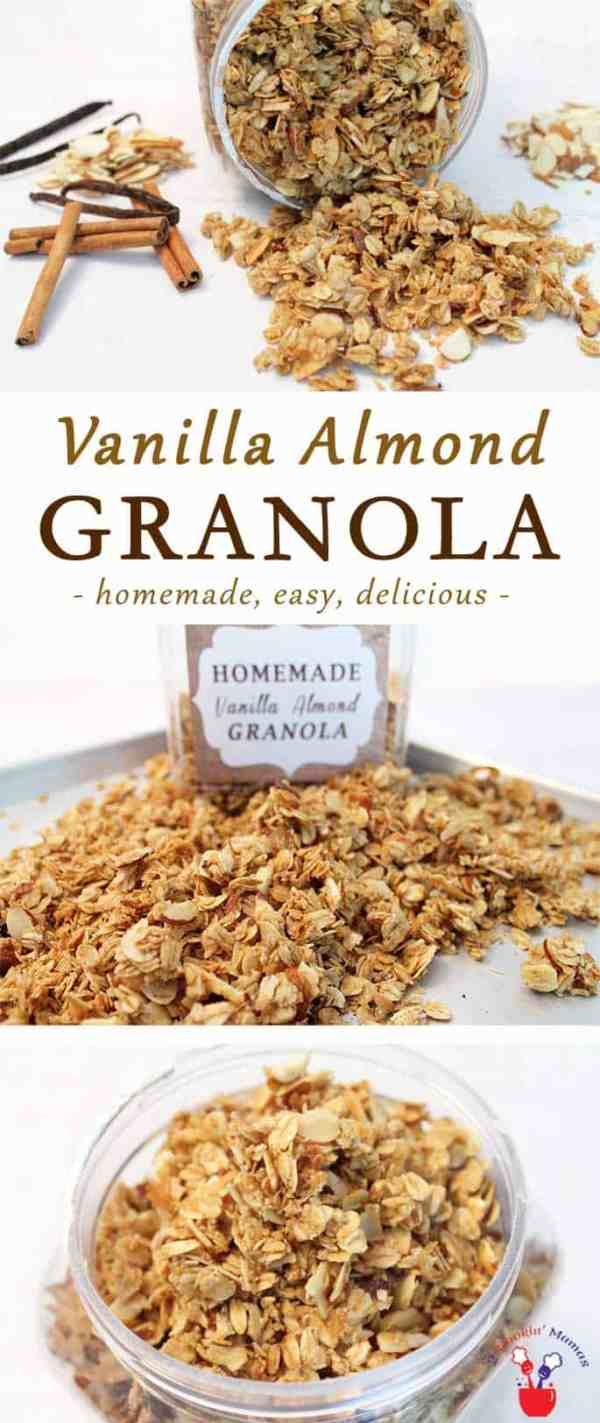 Vanilla Almond Granola | 2 Cookin Mamas There's nothing better than homemade vanilla almond granola. It's healthier than store bought, easy to make & great as a snack or yogurt topping.