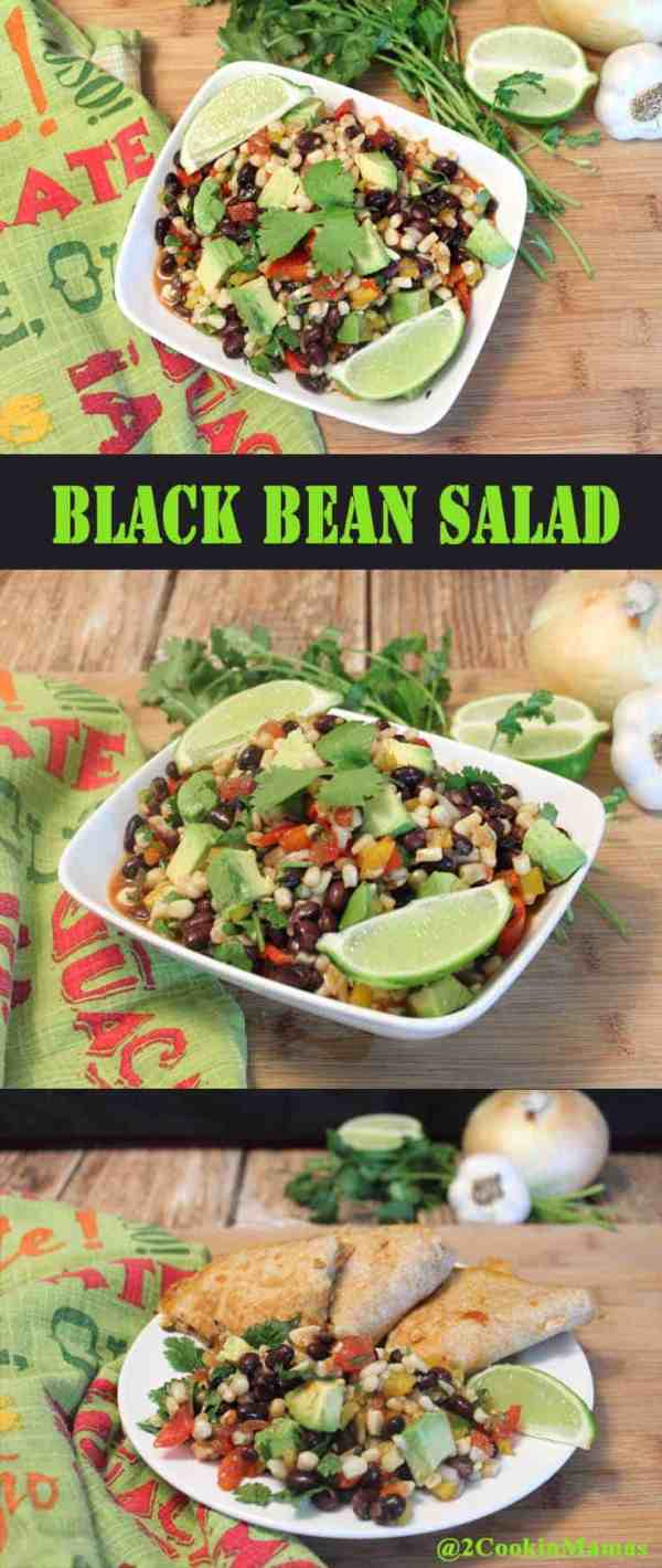 Black Bean Salad pin2 | 2CookinMamas A protein-rich salad with a decidedly Mexican twist. Great meatless dinner or serve as a side.