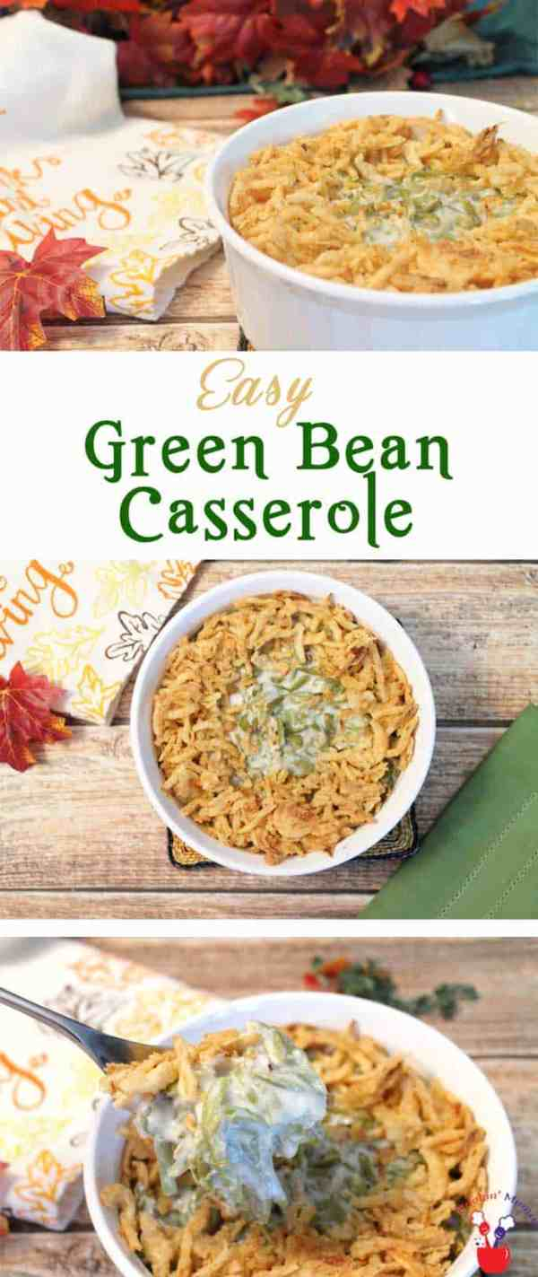 Traditional Green Bean Casserole | 2 Cookin Mamas An easy green bean casserole that mixes mushroom soup with crunchy fried onions for a favorite Thanksgiving side. #recipe