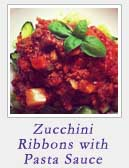 Zucchini Ribbons with Pasta Sauce
