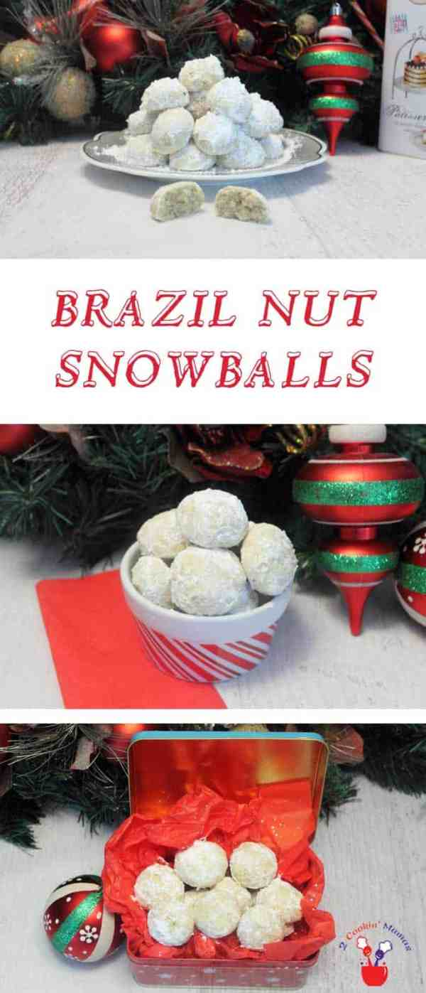 Brazil Nut Snowballs | 2 Cookin Mamas A quick & easy cookie made of ground nuts that give these Brazil Nut Snowballs a wonderfully nutty flavor. Round & covered with powdered sugar they, do indeed, look like little snowballs. #recipe
