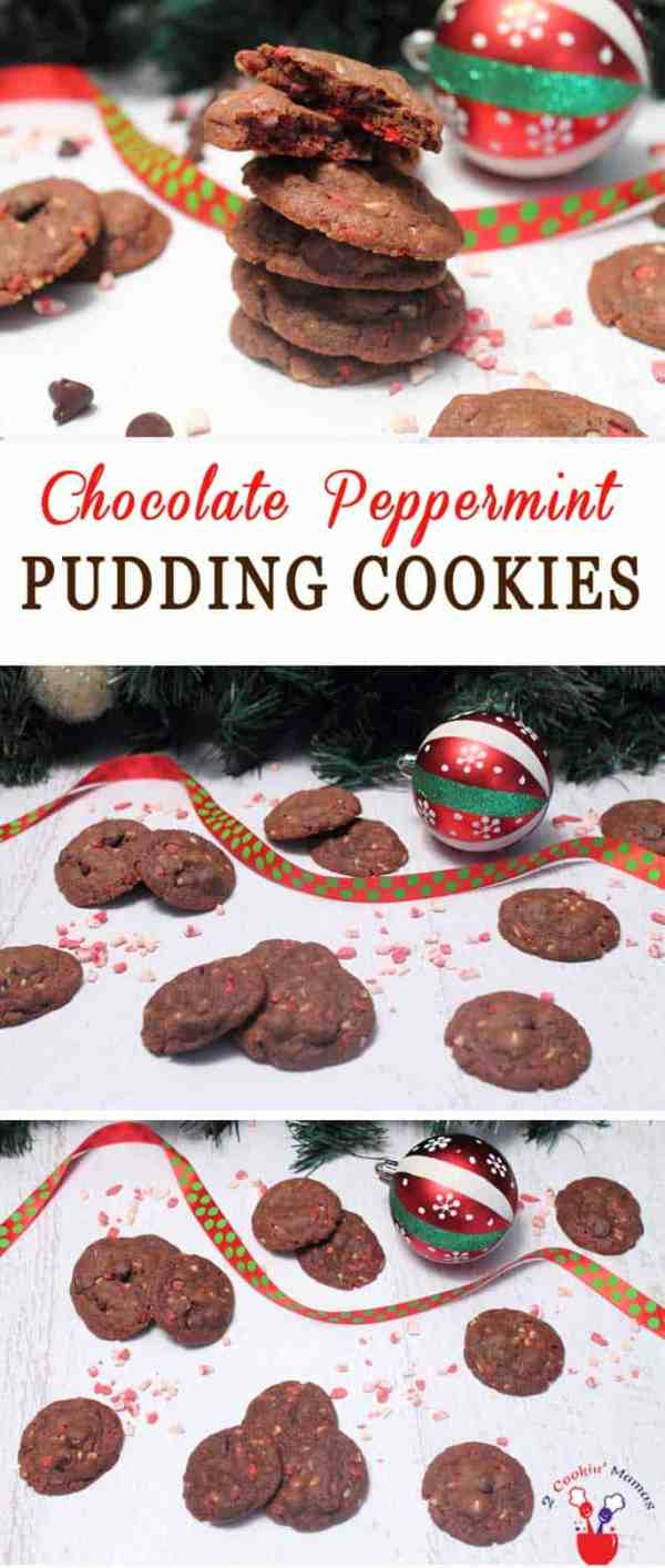 Chocolate Peppermint Pudding Cookies | 2 Cookin Mamas These delicious Chocolate Peppermint Pudding Cookies are soft, buttery and full of chocolaty goodness with just the right amount of peppermint chips to add a minty crunch.