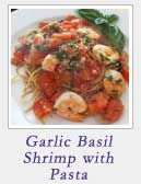 Garlic Basil Shrimp with Lime Garlic Pasta